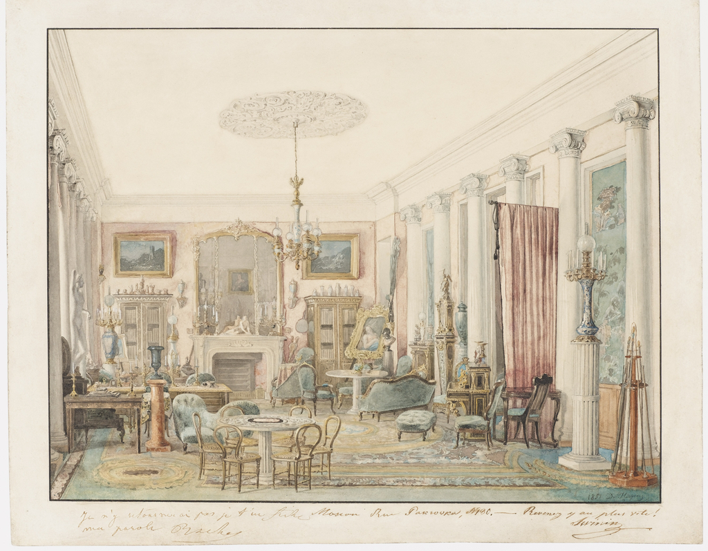 Drawing, An Interior in Moscow