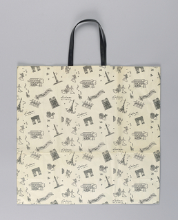 Random pattern with images of people and Parisian monuments in black on cream bag.