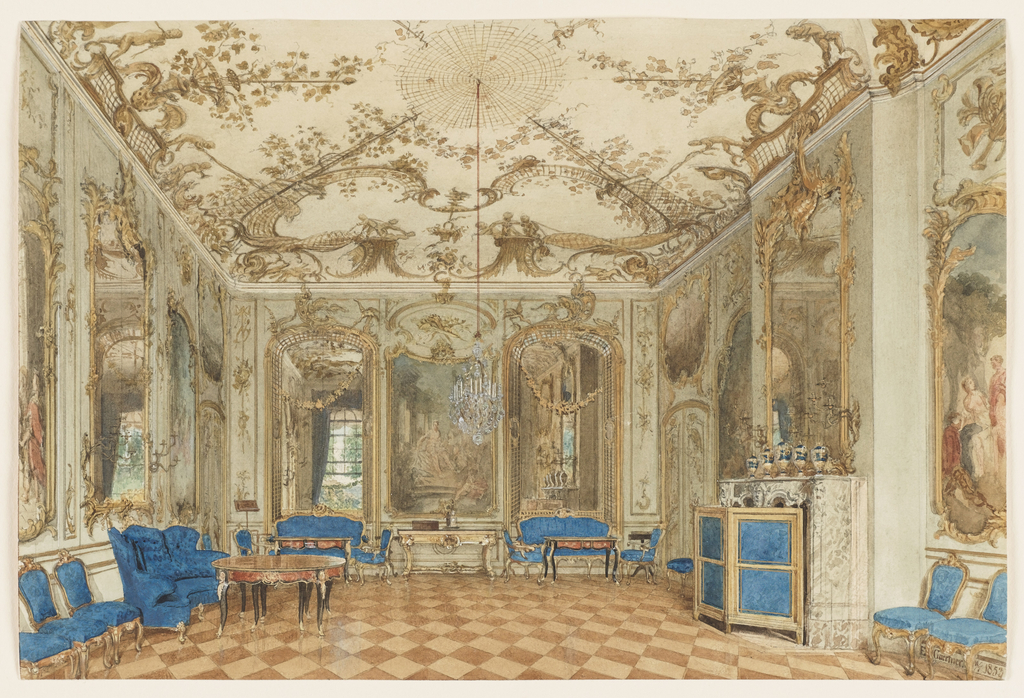 Drawing, Concert Room of Sanssouci Palace, Potsdam, Germany