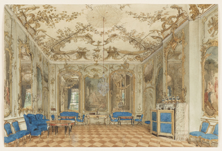The palace of Sanssouci, commissioned by Frederick the Great in 1745, was intended as a summer residence - a pleasure palace, without care, as its name connotes. The music room is an explosion of gilded boiserie, designed by Johann August Nahl, with mirrors alternating with painted panels by Antoine Pesne illustrating scenes from Ovid's Metamorphoses.  In the nineteenth century, Frederick Wilhelm IV employed Ludwig Persius to restore the palace. A winged sofa in the Rococo Revival style upholstered in royal blue joins the original gilt seating arrangement, reupholstered in royal blue; there is also a matching fire screen. Ormolu-mounted furniture, an overmantel mirror flanked by wall lights and a gilt-mounted garniture of vases complete the room decoration.