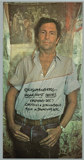 Art exhibition poster showing photographic portrait of artist posed in front of one of his paintings.  Rauschenberg is wearing striped shirt with sleeves rolled up, blue jeans, and brown belt.  An orange veil, attached to painting, is draped over his head.  Hand-written text appears on artist's shirt.