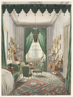 This bedroom-boudoir suggests a room for receiving, sewing, writing, gossiping and sleeping. The tall, narrow room is set with a curtained bed alcove at one end. The walls are densely hung with pictures. A gold-and-black lacquer cabinet, a desk, and a casual arrangement of a table laden with books and sewing basket emphasize the informal character of the room. A colorful floral carpet in red and green tones covers the entire floor.