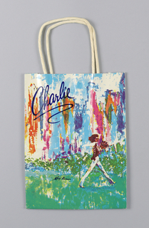 Multicolored bag with girl standing at right in abstract landscape.
