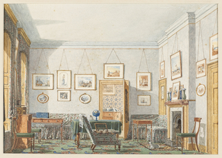 This view is one of two by the artist depicting an undergraduate's room (probably in Christ Church) at Oxford College. The room features a green patterned carpet; printed slipcovered seating furniture and matching curtains; a large table covered with a green tablecloth; and framed watercolors lining the walls. A view into an adjoining room is seen through the open door at the center rear.