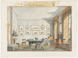 In this view, one of two by the artist depicting an undergraduate's room at Oxford College (probably in Christ Church), bright sun entering through two windows on the right casts a shadow on the furniture. Between the windows, a rococo cabinet is placed above a book cabinet. A window seat, valance and curtains are upholstered in the same fabric. A partial view of another building at Oxford College is seen through the rightmost window.