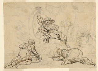 The ornamental part is sketched, the figures are completed. Two kneeling servants offer drinks to a seated man.