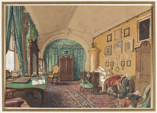 This living/ bed room features a curtained archway with a cartouche at the center. The green flowered curtain fabric is matched in the seat furniture and window curtains. The floor is covered with a Persian carpet in a blue and rose floral pattern. An unmade bed at the right, clothes draped over chairs, a nightstand with a candlestick, slippers on the floor and a desk at the widow create a gentleman's work-and-sleep environment.