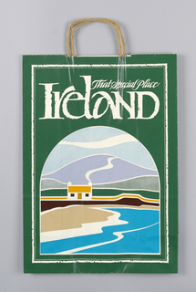 """That Special Place Ireland""; Country Promotion; white text on dark green. Image of cottage on shore in lunette shape frame.  Simple, woodcut-style illustration."