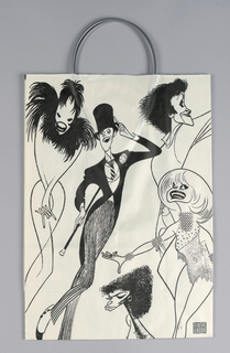 "White with black line drawing. Recto: Caricatures of five Broadway figures, clockwise from left, Andrea Marcovicci, Tommy Tune, Chita Rivera, Carol Channing and Debbie Allen. Verso: Theatre audience, based on an existing Hirschfield drawing, most closely associated with, but not created for, the play ""Noises Off"" by Michael Frayn."