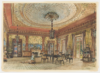 This salon exhibits a riot of Chinese/Japanese motifs. The walls are hung with wallpaper panels decorated with leaves, birds and large ceramic figures. A lantern, suspended from a palmette canopy centered in the ceiling, is designed in a large circular fish scale pattern. The black japannned and cane furniture is typical of the Victorian period. The floor covering appears to simulate tatami matting. Two large seated statues in costume flank French doors on the right. A mysterious seated figure in the left foreground holds a mask to his face with one hand; an unidentified object, perhaps also a mask, is in the other hand.