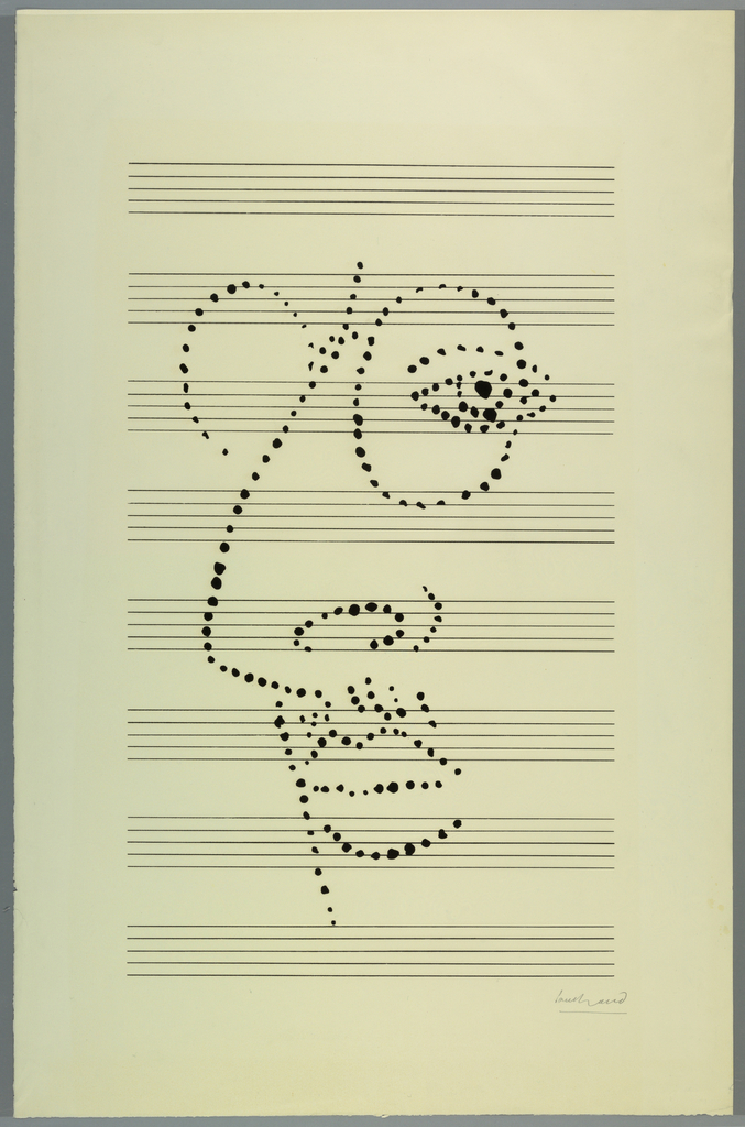 "Dotted portrait of Igor Stravinsky on music paper. Graphic was later used as a book cover for an edition of Stravinsky's ""Poetics of Music in the Form of Six Lessons"" published by Vintage in 1956."