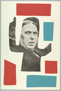 On cream ground, a black and white pixeled photograph of H.L. Mencken (social critic), cut into a silhouette of someone making a rhetorical gesture (raised hand with pointed finger).  Unevenly cut colored boxes (imprinted) surrounding silhouette: upper edge: red rectangle; upper right quadrant: blue rectangle; lower right quadrant: red square; beneath this, lower edge-right: blue rectangle; lower left quadrant, red polygon.