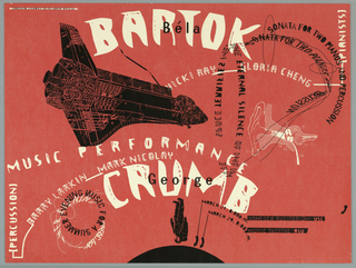 "Promotional poster for concert of music concert at Hancock Auditorium at Music Theatre.  Imprinted in white, top center: ""BARTOK"" with ""Béla"" in black superimposed.  Flowing text throughout image stating the musicians and names of composition and other information about concert. Image of U.S. space shuttle in black at center left with various sections numbered from 1 to 40. Image of astronaut falling towards earth depicted as black semi-circle at center bottom.  Various parts of astronaut are numbered from 18 to 26.  Two arrows pointing to specific parts of semi-circle to illustrate the location of concert halls.  Imprinted next to each, ""MARCH 21 8:00 pm HANCOCK AUDITORIUM USC/ MARCH 29, 8:00pm MUSIC THEATRE HSU. Diagram in black of ear and inner ear with various parts numbered 56-65."