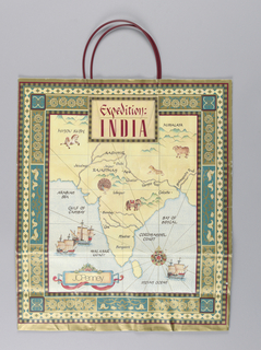 Department store bag: Expedition India.  Map of India in antique style, with store name in cartouche at bottom.