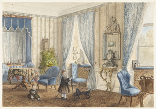 This salon is decorated in the feminine taste with elements of the high-Victorian style. Lace-trimmed tieback curtains, blue tufted upholstery, a round table covered with a print cloth and a large fern plant create a truly Victorian sensibility. In the foreground, two young boys, the older one standing and the younger seated, play with toys.
