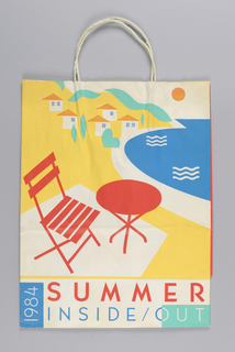 """Conran's/ Summer Inside Out 1984"". Recto: Red. yellow, blue and green image of beach table and chair on shore, with  house in distance.  Verso: beach chair; beach scene on right. Side panels: Store name."