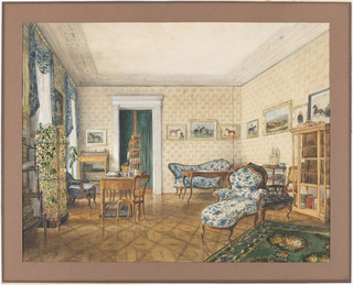 This view, dominated by horse paintings, indicates a room belonging to a sportsman or racing enthusiast. However, the use of matching blue-and-white upholstery fabric on the Rococo Revival furniture and in the window swags is not especially masculine. On the left, a trellis screen appears to enclose tall potted plants. Both the slant desk and flattop desk are inspirations of the Biedermeier period.