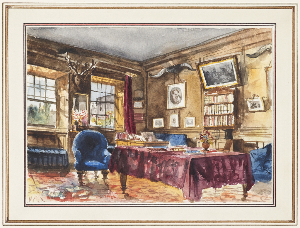 The gentleman's study in this view is dominated by a large rectangular table covered by a wine-colored cloth. The desk in the far right corner is placed at a window to catch the light. A stag's head is mounted on the wall between the windows, while elk horns, pictures and a book shelf hang on the wall to the right. Blue tufted furniture, a patterned carpet and vases of flowers, all omnipresent elements of the Victorian period, are featured here.
