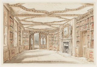 This library interior is a prime example of Gothic Revival vocabulary. The room is dominated by the ceiling decoration of intertwining arches. French doors are designed with pointed arches, a cross and an overdoor molding of broken arches. A chimney and mirror, flanked by large sculptures on plinths, are at right center. The bookcases terminate in an egg and dart molding.