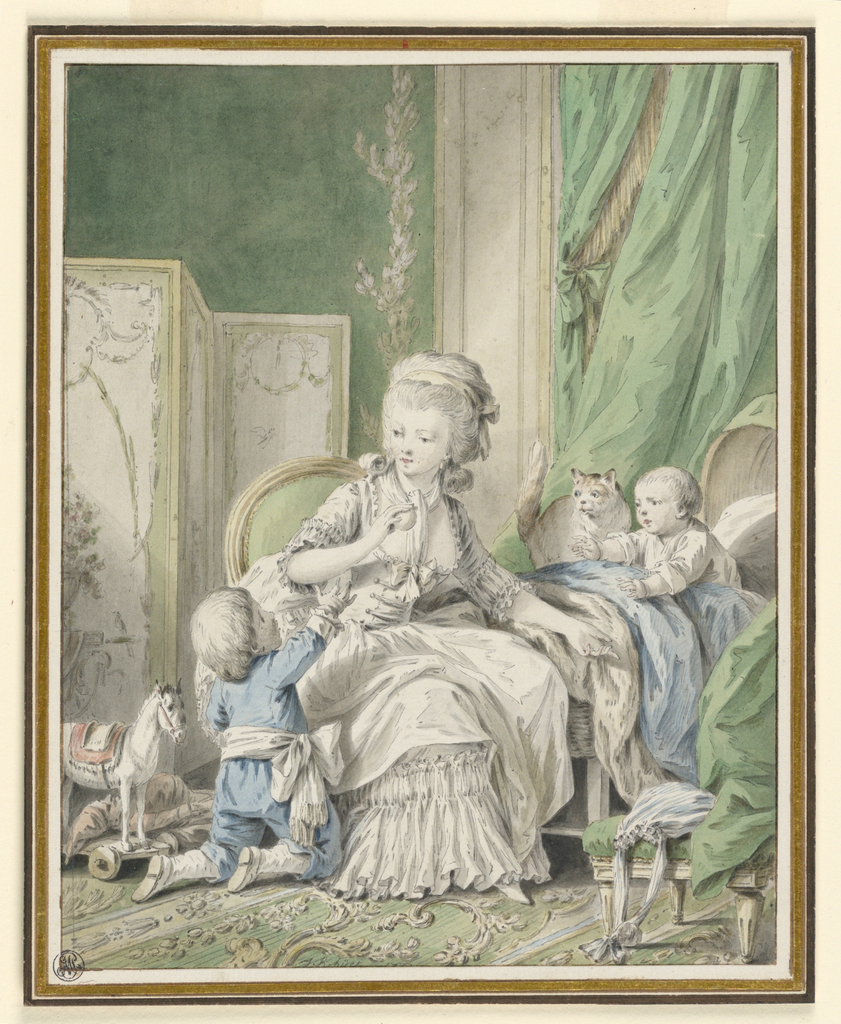 Woman holding a fruit sits on a low chair.   One son kneeling on the floor to the left reaches for the fruit, while a younger baby in a cradle [?] to the right also gestures for the fruit.  A painted screen and a toy horse fill the left side of the room and a chair in the right foreground and drapery behind the cradle complete the boudoir interior.