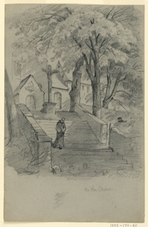 Sketch of a monk walking down a staircase with a church in the backrgound.