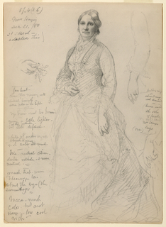 Recto: Portrait of Mrs. Rutherford B. Hayes, standing, with right hand on bodice and left hand at side; additional studies of arm and hands. Verso: Study of left hand with rings.