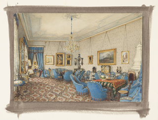 This view of a salon in Vienna is dominated by an ogee-patterned carpet in blue and red. The blue spoon-back chairs are upholstered in blue velvet with red and blue fringe at bottom. Black and gold japanned cabinets, whatnots and famille noire porcelain vases decorate the room. A Rococo Style console in white and gold and a gilt mirror flanked by candelabra are placed between the windows. The Louis XV-inspired chandelier may have been from the Baccarat factory. Thonet bentwood chairs with cane seats are casually placed around the room.