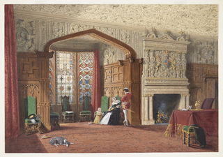 The Elizabethan interior was a popular style revived during the Victorian period. It is characterized by heavily carved panelling, the use of stained glass, intricate plasterwork and high-backed carved oak chairs. An armorial cartouche on the overmantel and a gold ewer and tray on a skirted table are elements commonly seen in Elizabethan interiors.