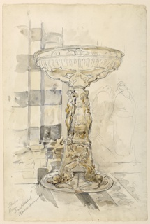 Holy water basin in Siena Cathedral. A pillar on the left, two figures in right background.