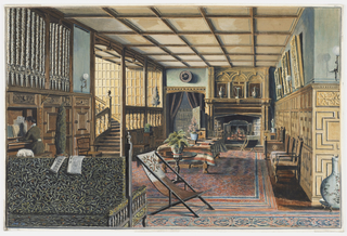 Drawing, The Interior of Hall Place, Leigh, near Tonbridge, Kent