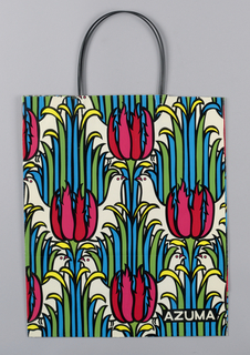 Pattern of birds, tulips, and stems in red, yellow, green, blue and black on white.