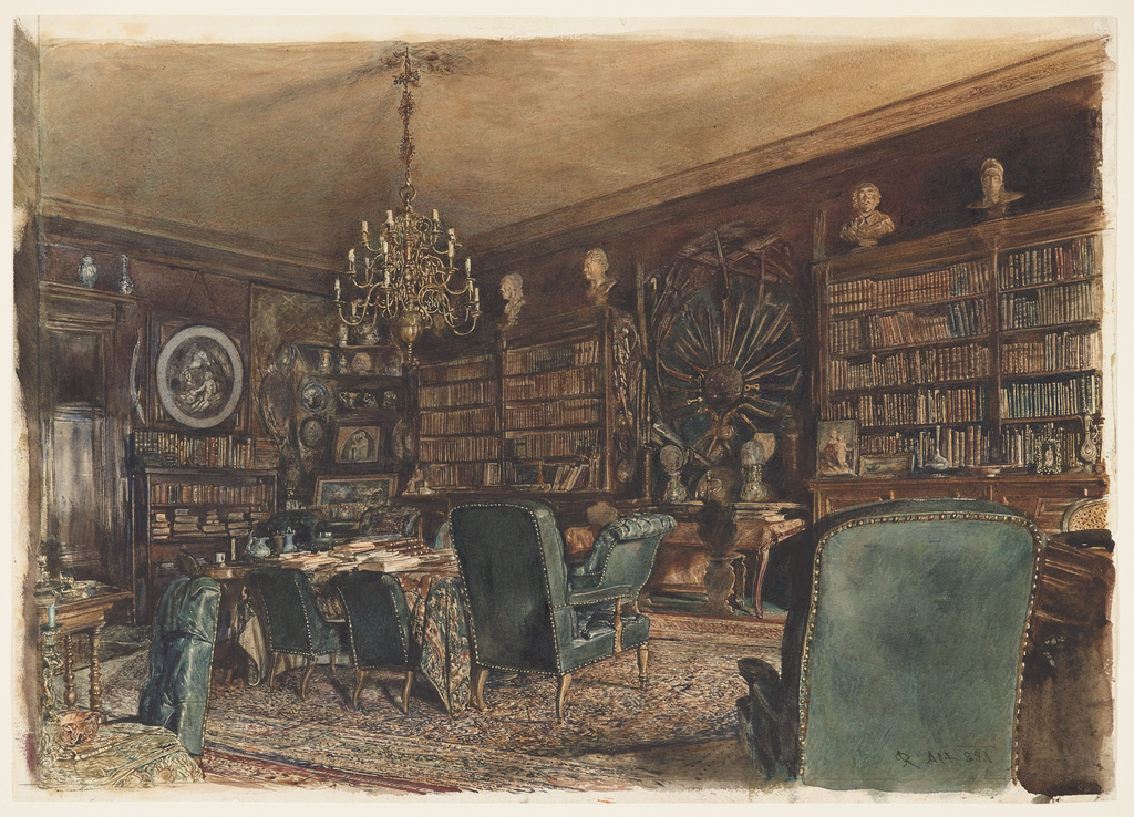 The library of Count Lanckoronski reveals the scholarly interests of a wealthy nobleman.  The walls are lined with leatherbound volumes, antique sculptures, porcelains, silver objects, and hunting trophies.  The floor is covered by a Persian rug. Tufted armchairs in the Regency style are upholstered in dark green leather.  A large library table is covered with a patterned cloth; piles of books are placed on top.  A brass chandelier is hung, centered, above the table.