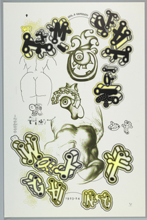 Academic study of a female torso surrounded by letters in the designer's characteristic 3-dimensional font spelling out the title. Other elements include line drawing of woman's back and a leering face wearing a jester's cap. Design in black and yellow.