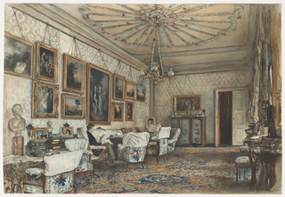 This view depicts the Salon of the Polish nobleman, Count Lanckoronski, who is seated in chair, reading. The walls are hung with paintings by Gainsborough, van Ruisdael, Waldmüller, and Claude.  A collection of antique sculpture, bronzes, glass and porcelain decorates the room.  A Persian carpet covers the floor. The armchairs are upholstered in the Victorian spirit with a floral and trellis design.