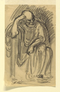 A classical figure of an elderly man in drapery, seen frontally, seated, resting his head on his hand, with his right elbow on the arm of the chair.