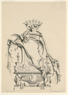 Empty cartouche with crown, female cameo portrait, and two female griffins.