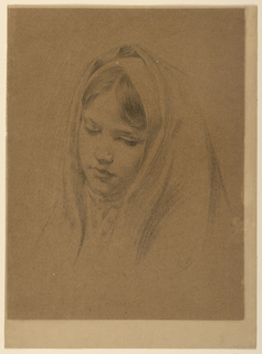 Head of a girl, tilted slightly toward the right, looking down. Hair parted in the middle. Head covered with veil, one end of which is brought around the neck.