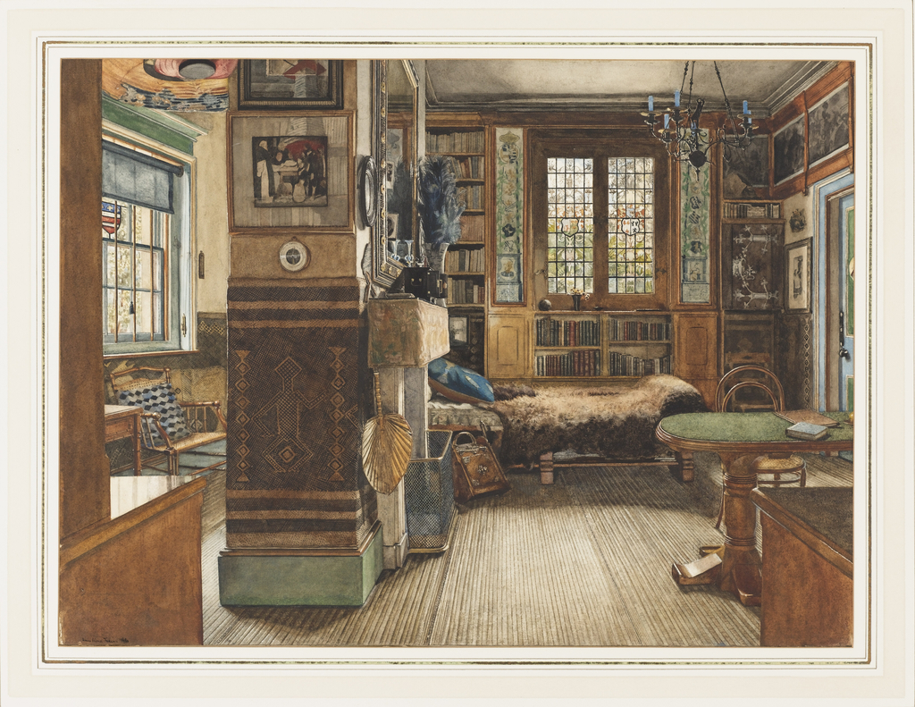 The study interior shows elements of the Aesthetic Movement.  The furniture, including a fur-covered couch, bentwood chairs, a bamboo armchair and writing table, located in the opened-up neighboring room on the left, is utilitarian.  The use of tiles on either side of the stained glass windows and of geometric-patterned walls are design components often seen in late nineteenth century England.