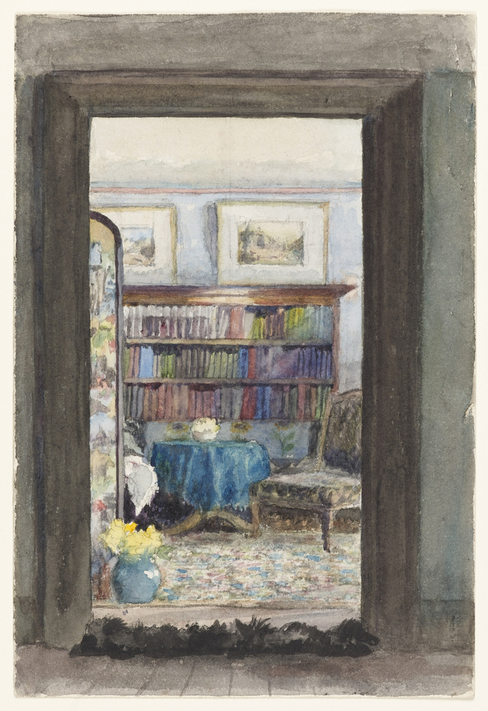 While this vicarage library is typically Victorian in stye, it incorporates elements of the Aesthetic movement. The circular table covered with a blue velvet cloth, scrap screen on the left and floral-patterned carpet are common to late nineteenth century vicarages. However, the pale gray walls and white-matted watercolors above the bookcase show Aesthetic leanings.