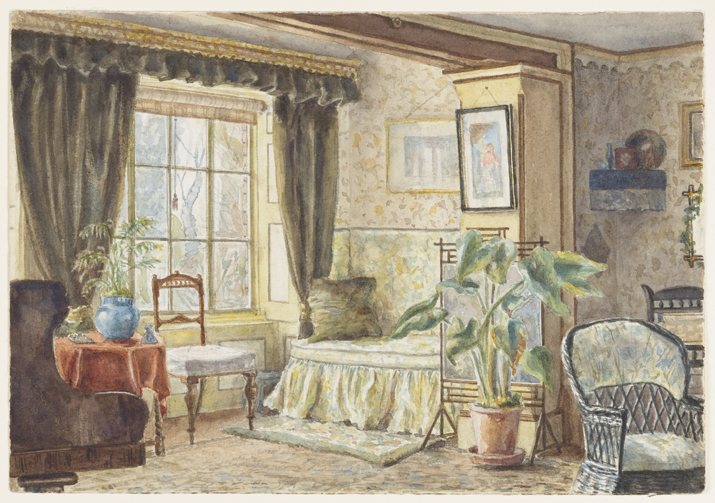 This view shows a typical room in a vicar's home, comfortably furnished at little expense. The wicker chair, large plant in a terra-cotta pot, casually upholstered day bed and patterned walls and floor create a somewhat nondescript, yet cozy, interior. Elements of the Aesthetic Movement appear in the side chair rail and ceiling moldings.