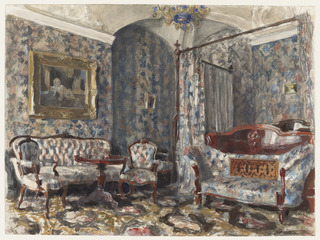 This bedroom is decorated in typical Victorian style, with floral-patterned walls, upholstery and bed drapery. The highly polished Rococo Revival furniture, carpet in a floral design covering the floor, blue and gold Venetian glass central chandelier and portrait in a gilded frame hung over the sofa complete the decorative scheme.