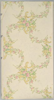 """Flitter paper. Scroll medallions with pink rose centers connected by floral vining and light purple and pink foliate branches. Cream ground. Printed in pinks, light purple, yellows, and gold mica flake. Printed in selvedge: """"Robert Graves Co. 4737"""" Corner reattached with tape."""