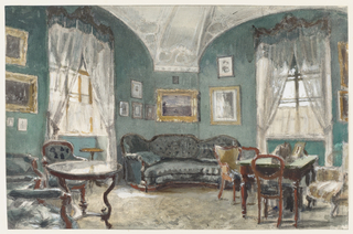 This view of the Czar's sitting room, impressionistically rendered, shows suites of highly polished mahogany furniture in the rococo revival style. The green color of the closely buttoned upholstery matches the walls while white curtains furnished with a pelmet informally dress the windows. The walls are hung with pictures of battle scenes and studies of military uniforms.