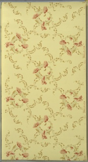 Waving floral scrolls--each with four pink flowers--connected by loose treillage pattern of foliate scrolls. Ground is light green. Printed in pinks, greens, white mica, and beige. 