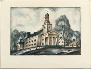 Print, New England Meeting House