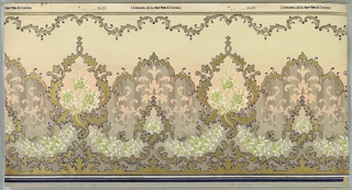 Alternating large and small floral medallions with bouquet insets, connected by floral swag and foliate scrolls. Top and bottom have scalloping designs of foliate scrolls. Background of the bottom half of the frieze is stripes of green and grey with negative spaces in the shape of floral and foliate motifs. Grounding shades from green grey to grey to pink to light green. Printed in white, dark blue, greens, greys, and gold mica.