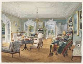 This sitting room is clearly situated in a summer residence. Three large French doors, opened to the outside, are dressed with billowing white pelmets. The light wooden floor is laid in a simple geometric pattern and the furniture, in the Biedermeier style, is upholstered, most likely in printed cotton. A center table, covered with a plaid cloth, holds books and a plant. A writing desk, additional plants, a birdcage, paintings and a dog curled up on the sofa create the ambience of a summer retreat.