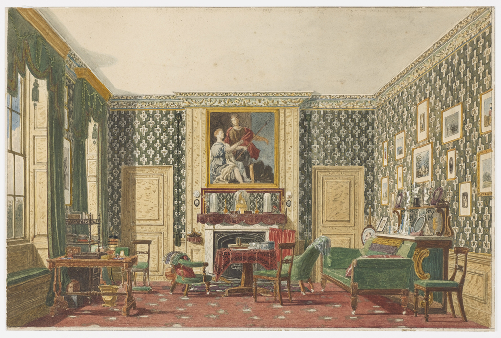 The boldly patterned wallpaper, green draperies and matching upholstered furniture shown in this interior impart an air of masculinity to the room. While the proportions of the windows at left would be suited to a room intended for formal receptions, the desk, bookcase and work table suggest that this interior has been converted to a working study, in which the occupant is surrounded by his pictures, books and sculptures.