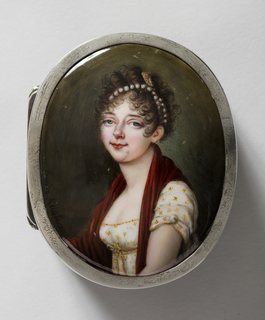 Painted portrait of a young woman in three-quarter view. She wears a white dress with yellow and red flowers tied on the waist. Around her neck is a red cloth. She wears a string of pearls and gold ornament in her hair.