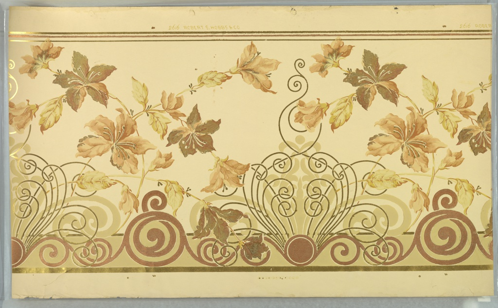 """Art nouveau. Spiraling and scrolling medallions connected by vining with large flowers. Bottom band of waving scrolls/spirals. Printed on light beige ground in beige, light green, red-brown, pink-brown, metallic gold and metallic copper. Printed in top selvedge, """"Robert S. Hobbs & Co."""" pattern number """"2616""""."""
